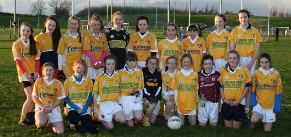 Antrim U13 Ladies Football team, with Con Magees players, Rachel, Ellen and Molly.