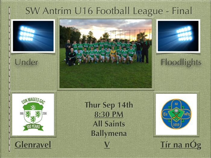 League Final - All Saints Ballymena, 14/09/17, 8:30PM